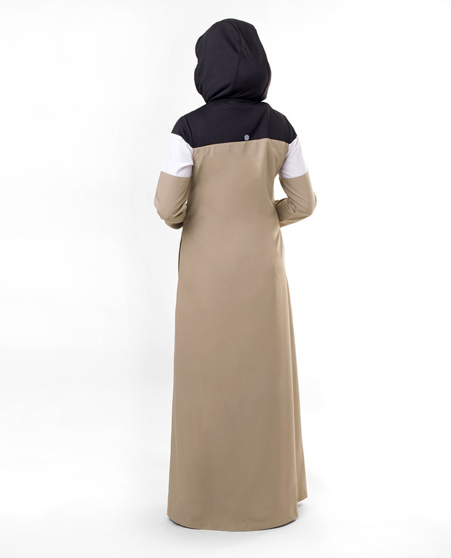 Sporty Active Brown Hooded Jilbab