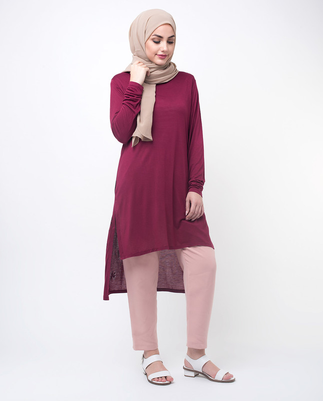 Slim Fit Red Printed Top Tunic