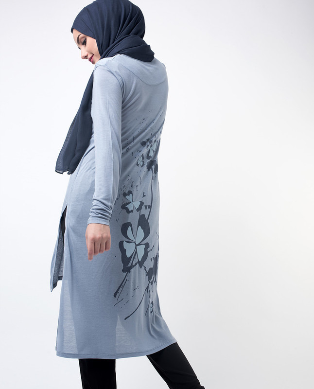 Floral Printed Modest Tunic Top