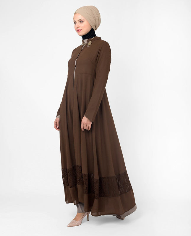 Full Length Brown Elegant Lace Outerwear, Kimono