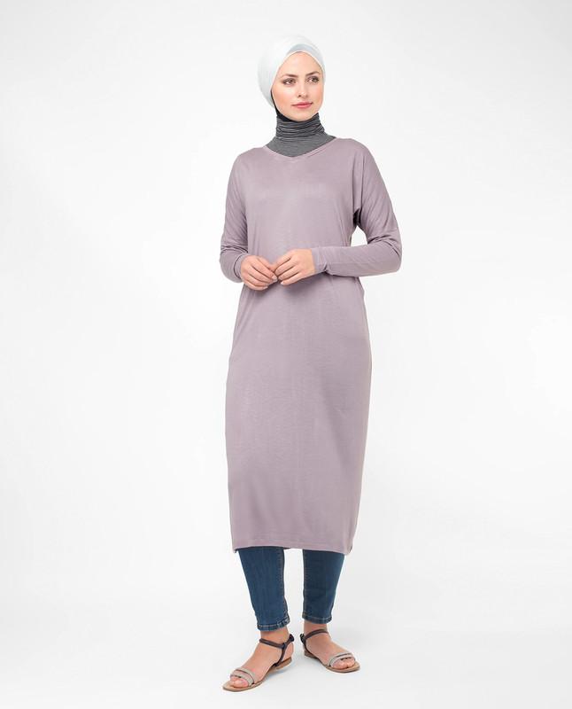 V-neck long modest top, tunic