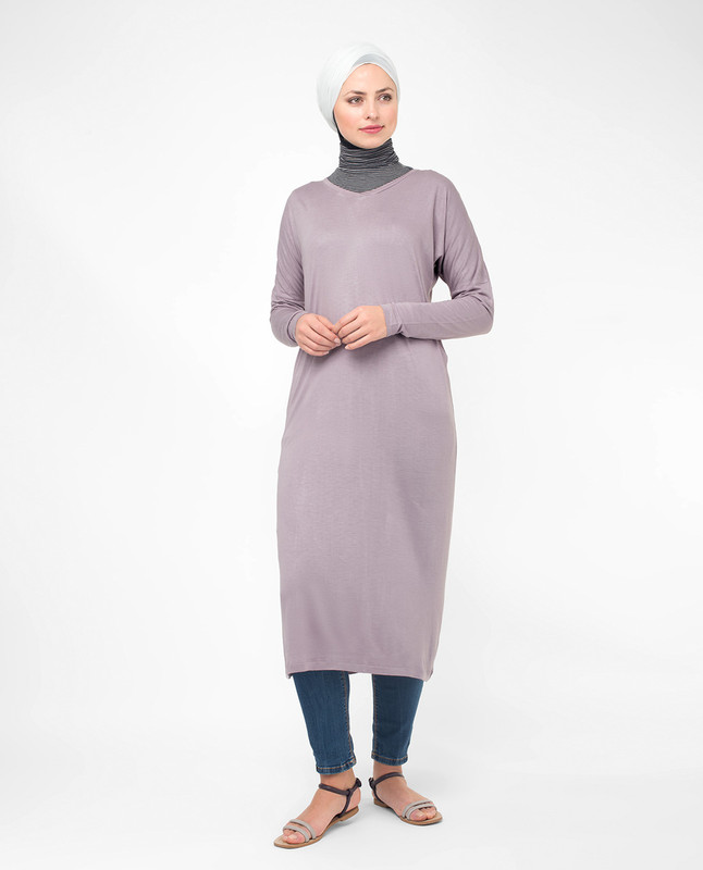 Lilac V-Neck Long Modest Top