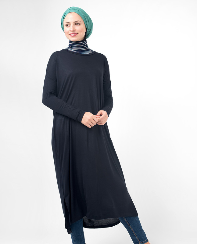 Black Casual Long Modest Top, tunic