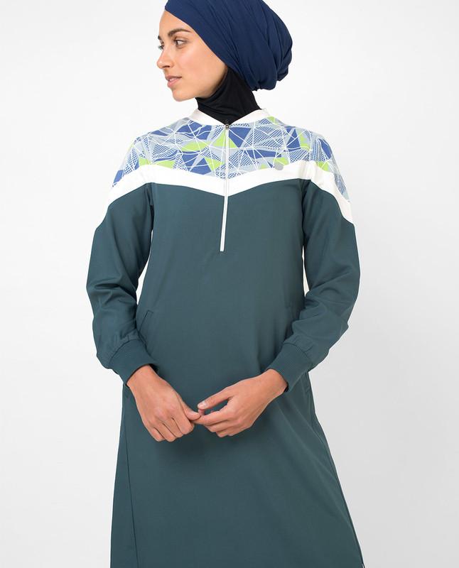 Teal abaya jilbab