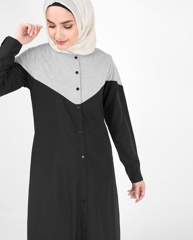 Black and grey abaya jilbab