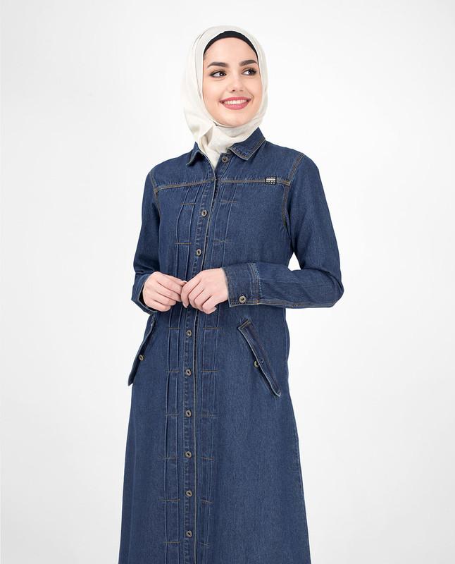 Full front open denim abaya jilbab