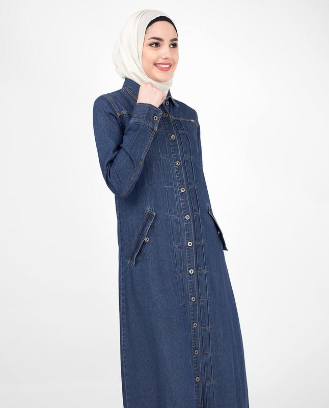 Classic blue denim abaya jilbab