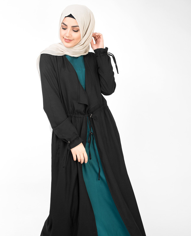 Black Full Length Waterfall Outerwear
