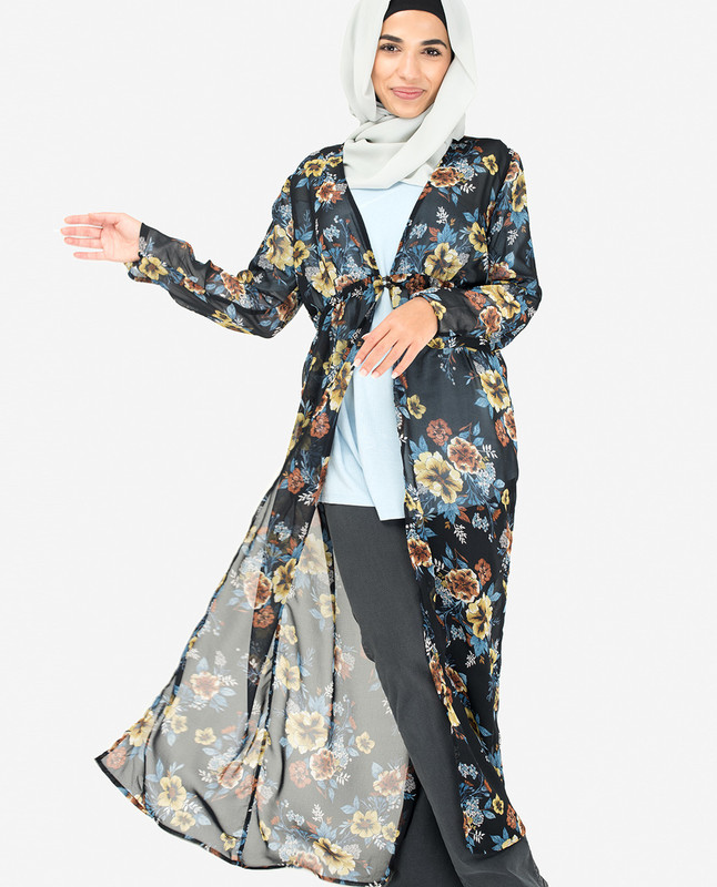 Navy Floral Georgette Outerwear