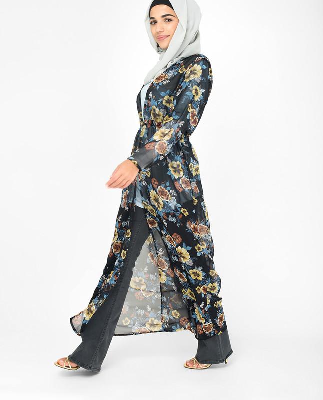 Navy Floral Georgette Outerwear