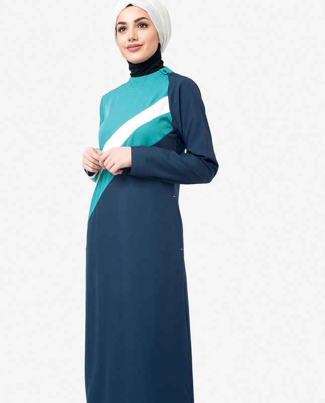 White Striper Colour Blocking Jilbab