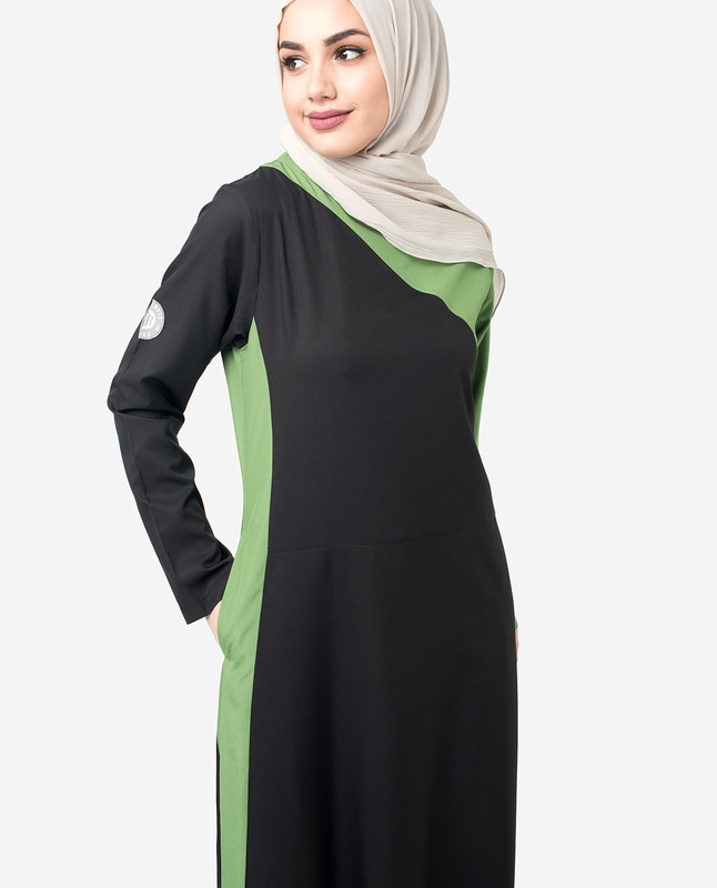 Black & Green Colour Blocking Jilbab