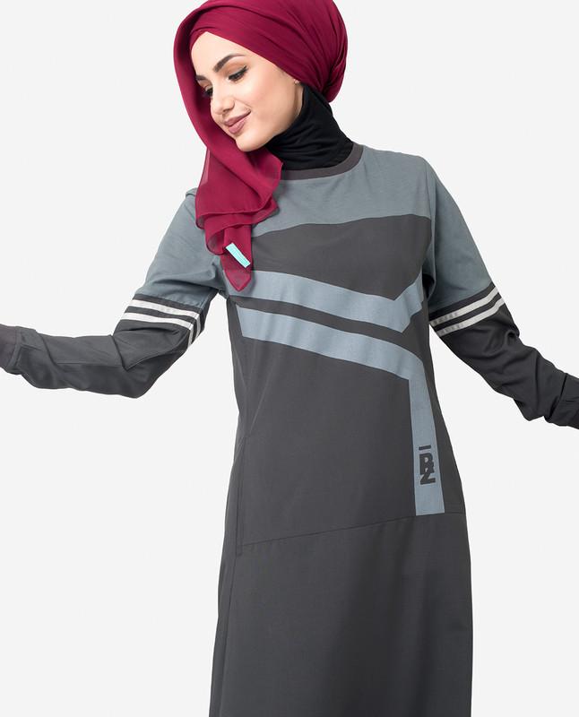 Grey Contrast Print Jilbab