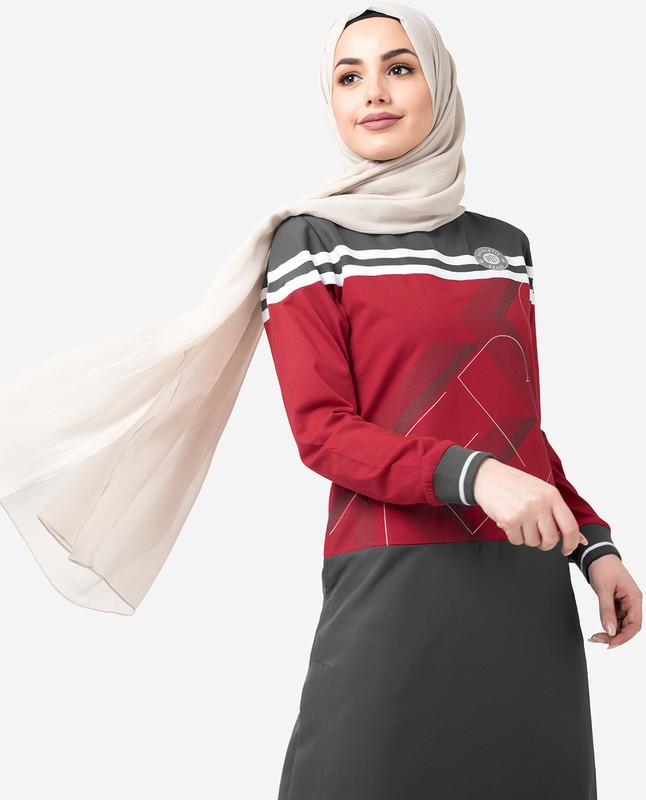 Grey & Red Print Jilbab