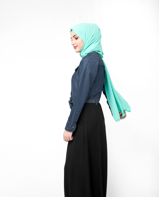 blue and black abaya jilbab