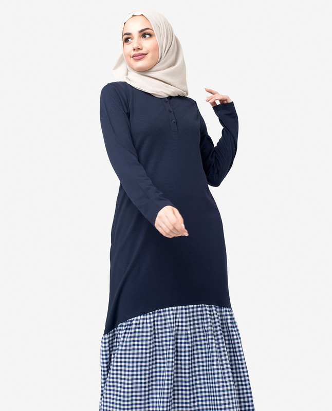 Gingham Gathered Navy Jilbab