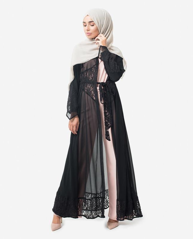 Full Length Black Elegant Lace Modest Outerwear