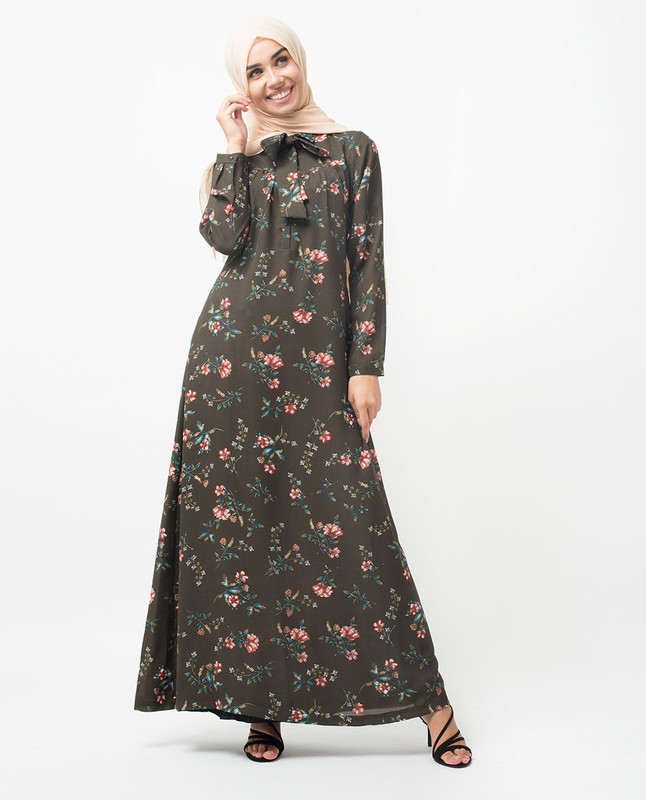 Floral Neck Tie Up Abaya