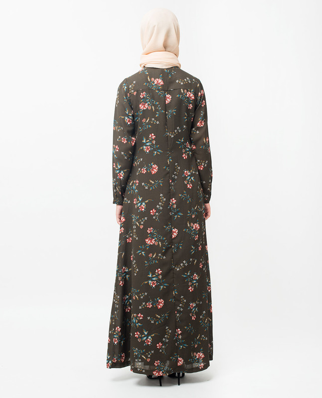 Floral Neck Tie Up Abaya