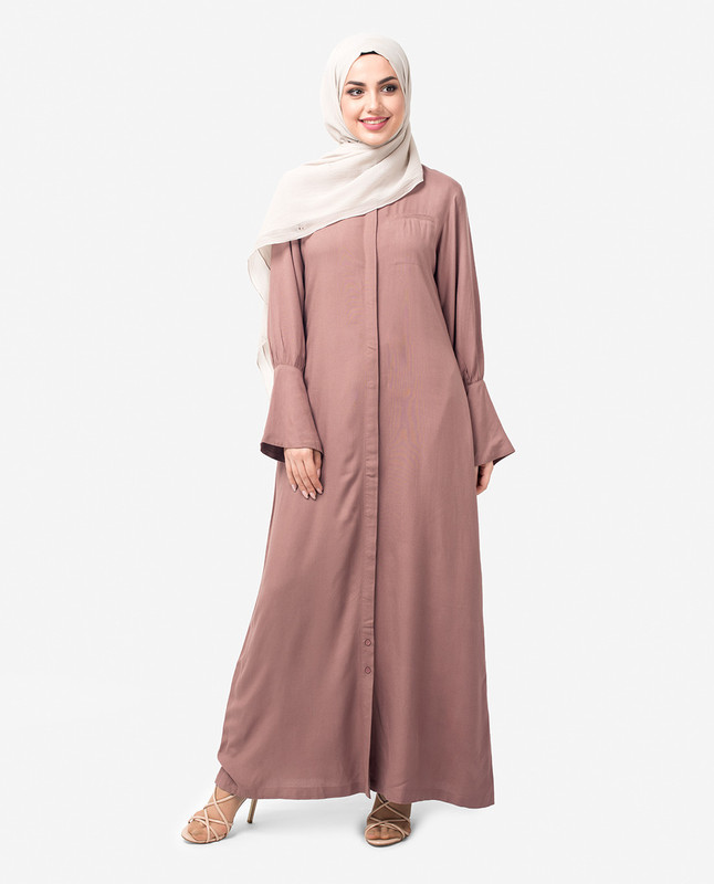 Full Front Open Bell Sleeve Abaya