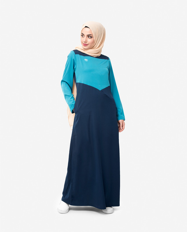 Navy Route Colour Block Jilbab