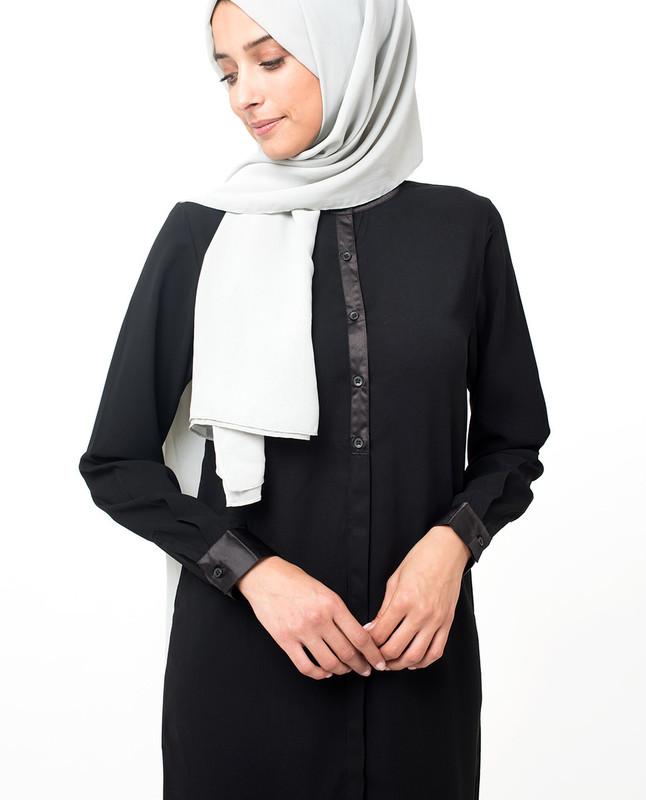 Black High Low Satin Detail Shirt Dress