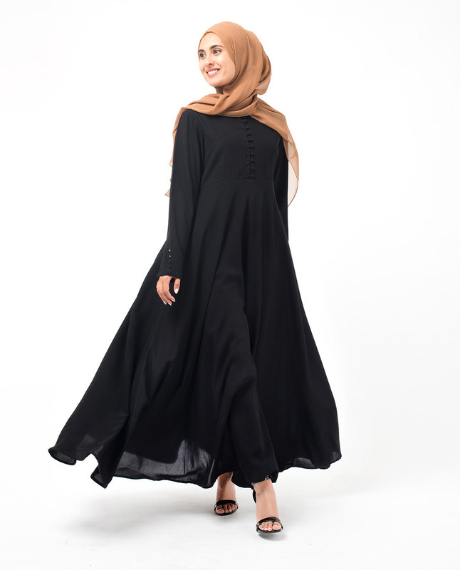 Black Mandarin Flared Abaya