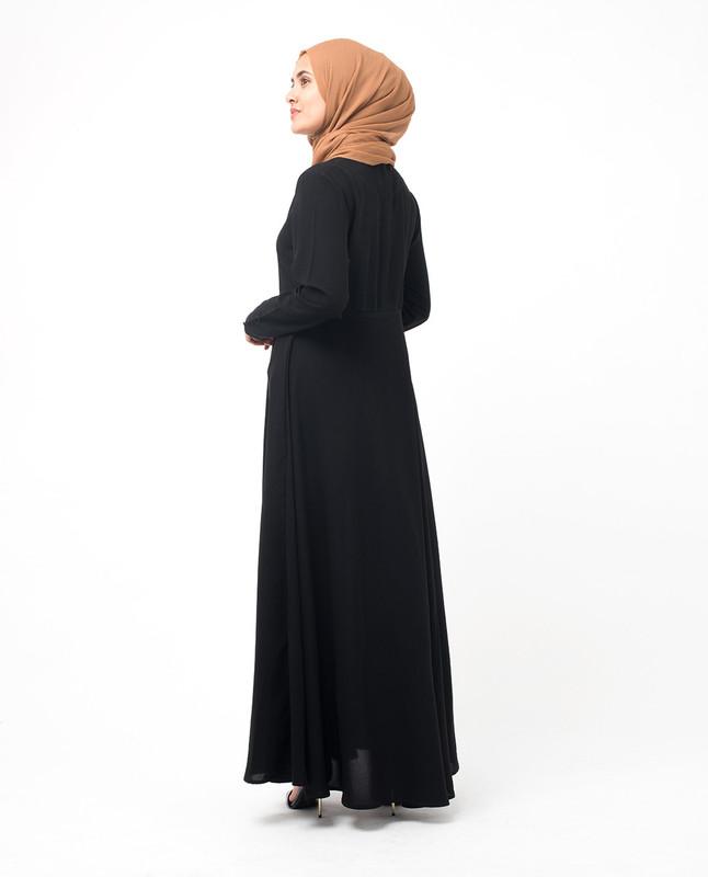 Black Mandarin Flared Abaya