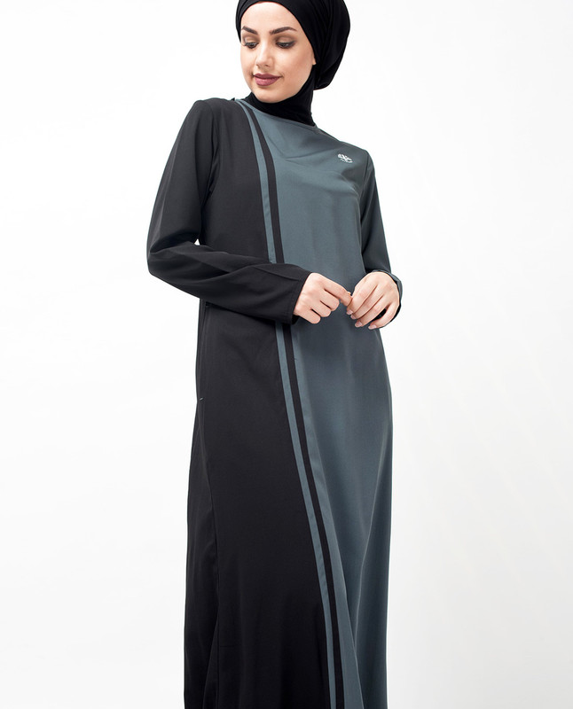 Grey & Black Vertical Colour Block Jilbab