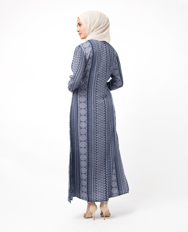 Long Side Slit Printed Outerwear