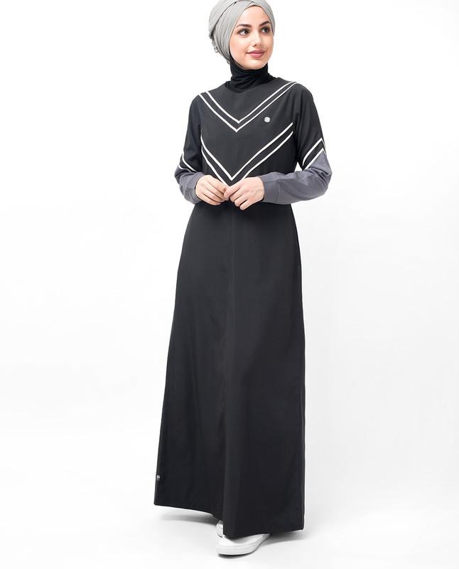 Black V Striper Abaya