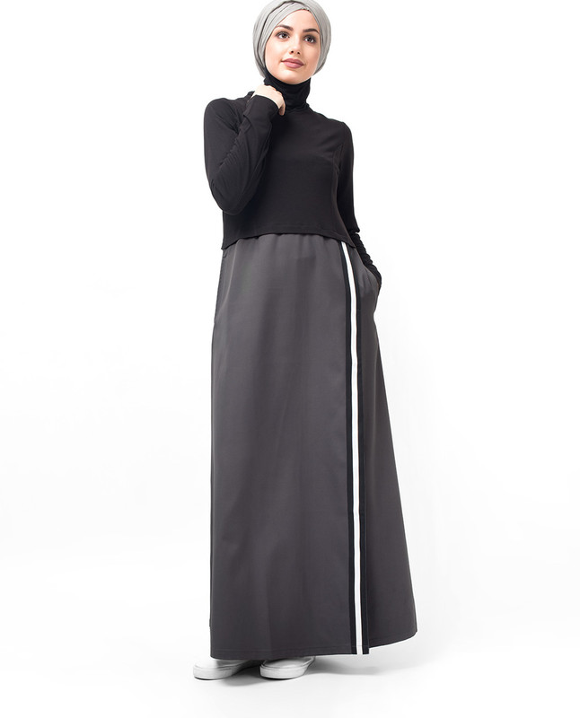 Black & Grey One Stripe Abaya