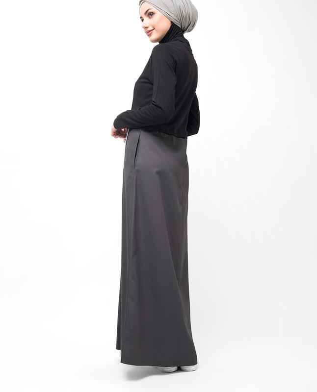 Black & Grey One Stripe Abaya
