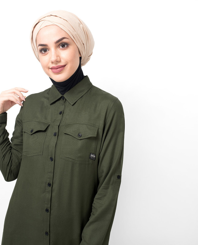 Olive Pleated Tier Abaya