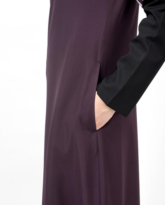 Plum & Black Contrast Sleeve Abaya