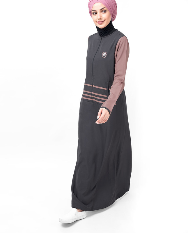 Grey Long Zip & Contrast Sleeve Abaya