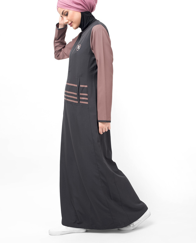 Grey Long Zip & Contrast Sleeve Abaya
