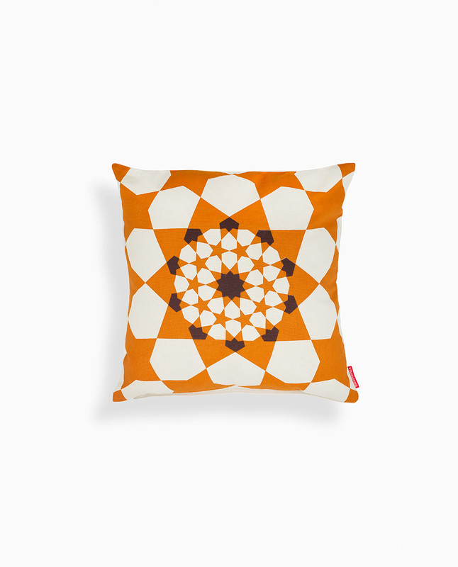 Islamic Geometry Print Cushion Cover - Orange / Brown