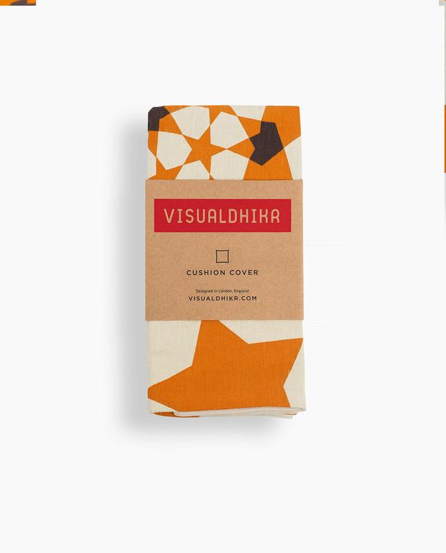Islamic Geometry Print Cushion Cover - Orange / Brown