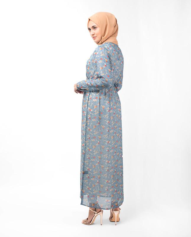 Sky Blue Floral Outerwear