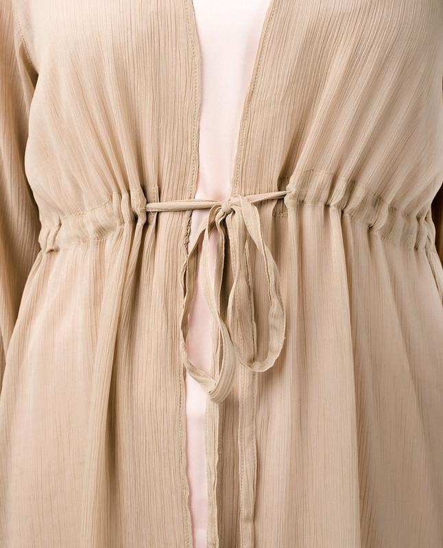 Beige Waist Tie Up Outerwear