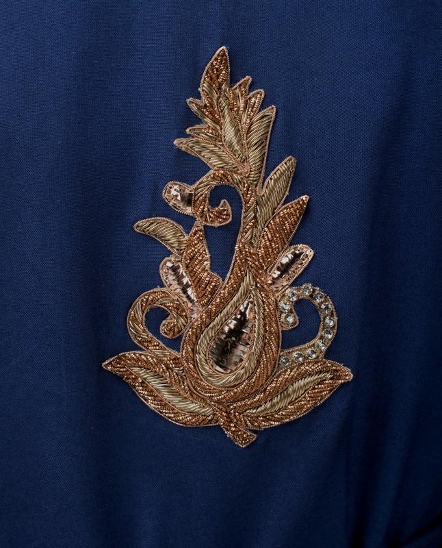 Navy Peony Hi-Low Embroidery Midi