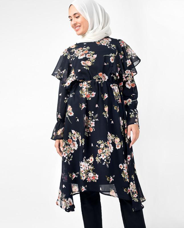 Navy Floral Handkerchief Boat Neck Midi Dress