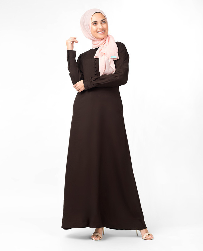 Slim Cocoa Maxi Dress Abaya