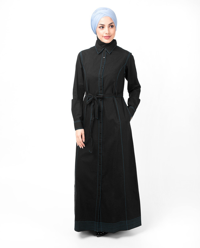 Full Front Open Black Waist Tie Up Abaya