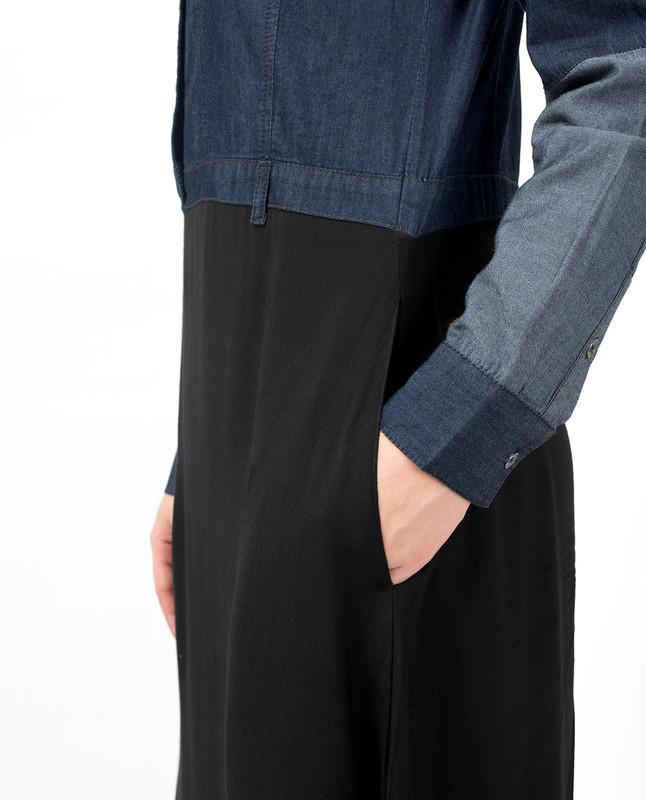 Mid Waist Skirt Denim Shirt Abaya