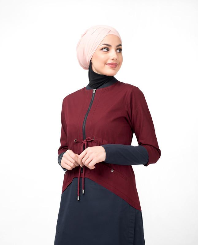 Maroon Curved Hem Jilbab
