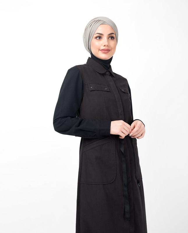 Charcoal Contrast Sleeve Jilbab
