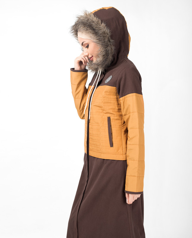 Brown Faux Fur Winter Hooded Jilbab