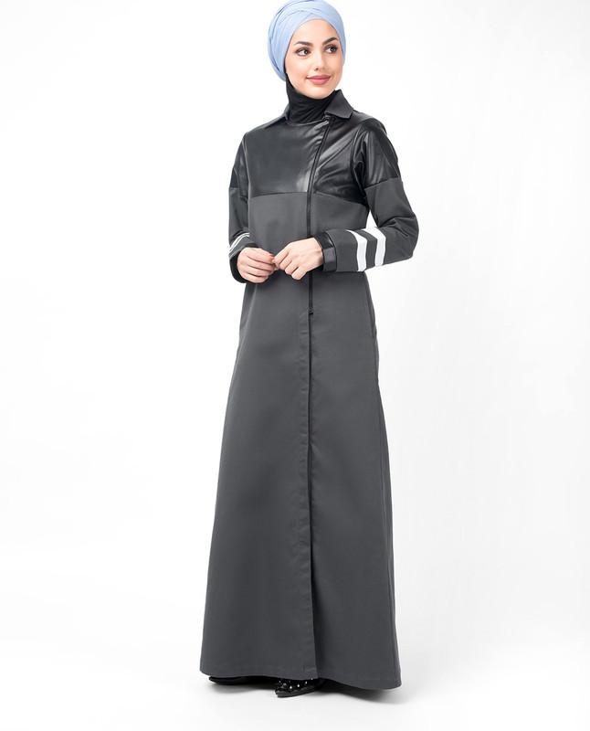 Grey Zipper & PU Winter Jilbab